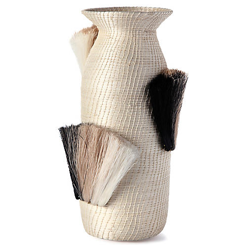 "14"" Fanned-Out Tall Vase, Cream/Black"