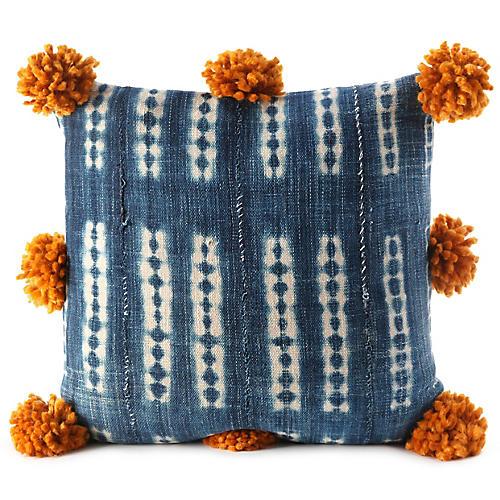 Bogolan 20x20 Pillow, Indigo/Caramel