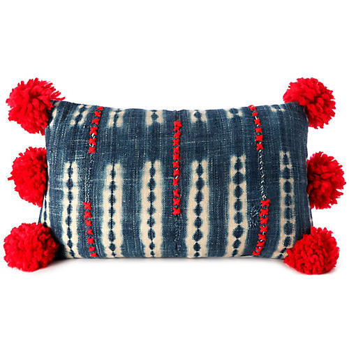 Bogolan 12x21 Lumbar Pillow, Indigo/Cherry