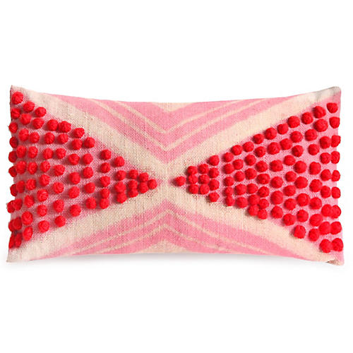 Juguru 12x21 Lumbar Pillow, Peony/Flax