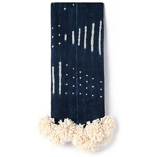 Mud-Cloth Pom-Pom Throw, Dark Indigo/Cream