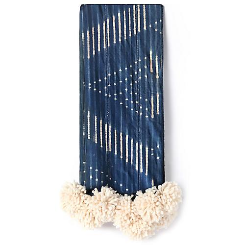 Mud-Cloth Pom-Pom Throw, Indigo/Cream