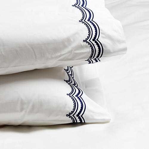 S/2 Evelyn Pillowcases, Navy