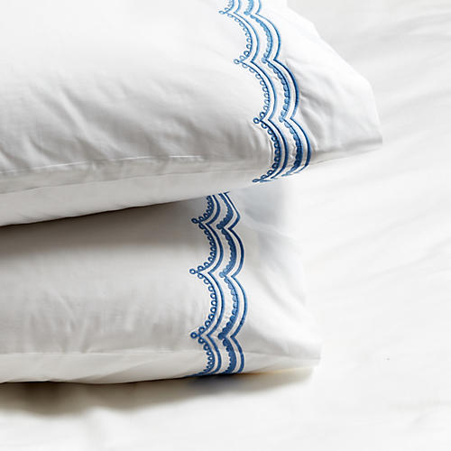 S/2 Evelyn Pillowcases, Azure