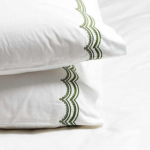 S/2 Evelyn Pillowcases, Moss Green