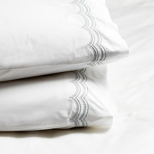 S/2 Evelyn Pillowcases, Silver