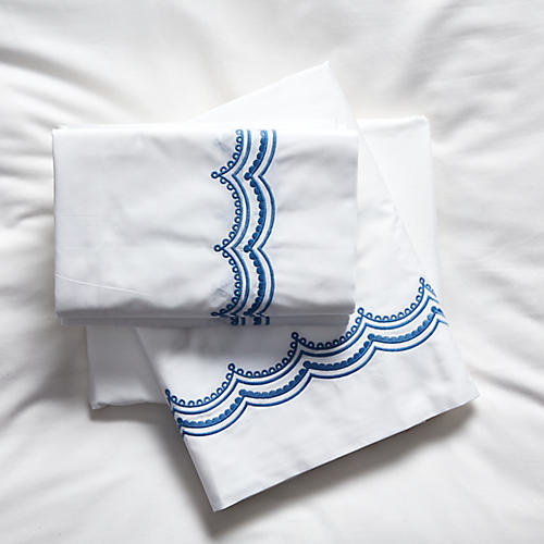 Evelyn Sheet Set, Azure