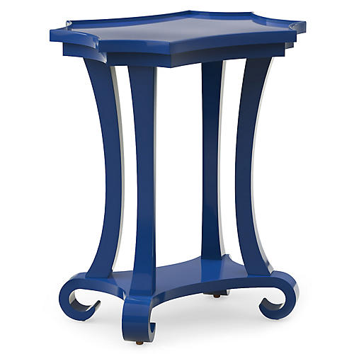 Mavi Lacquer Side Table, Blue