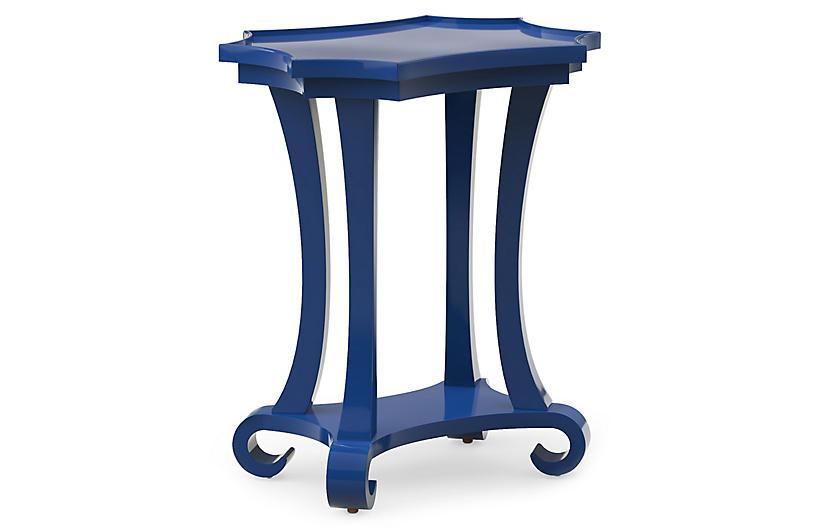 Mavi Lacquer Side Table, Blue