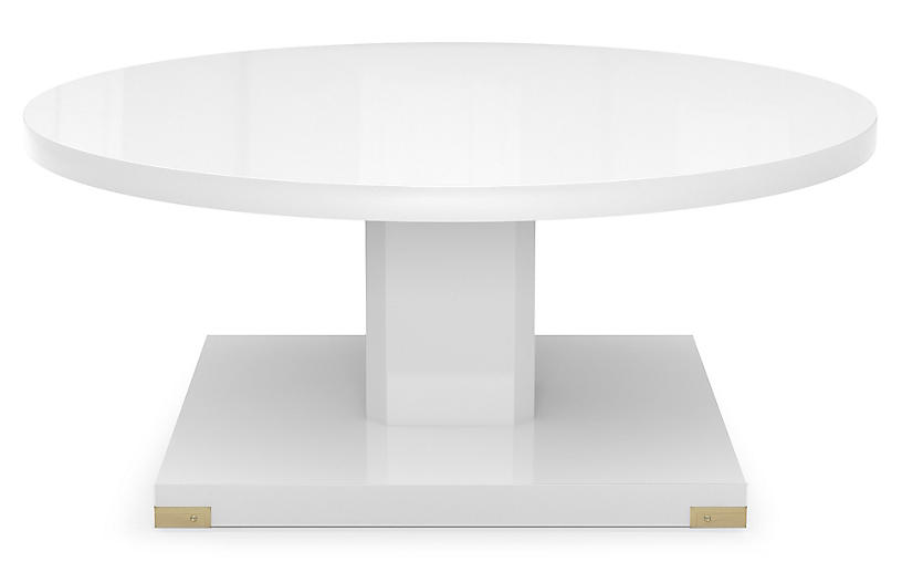 Paxton Coffee Table, White Lacquer