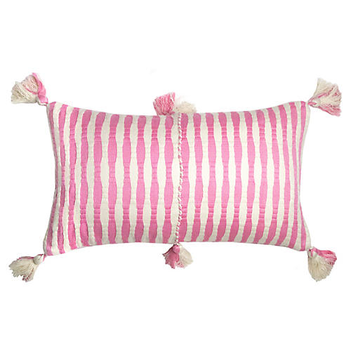 Antigua 12x20 Lumbar Pillow, Pink Stripe
