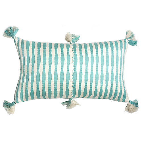 Antigua 12x20 Lumbar Pillow, Aqua Stripe
