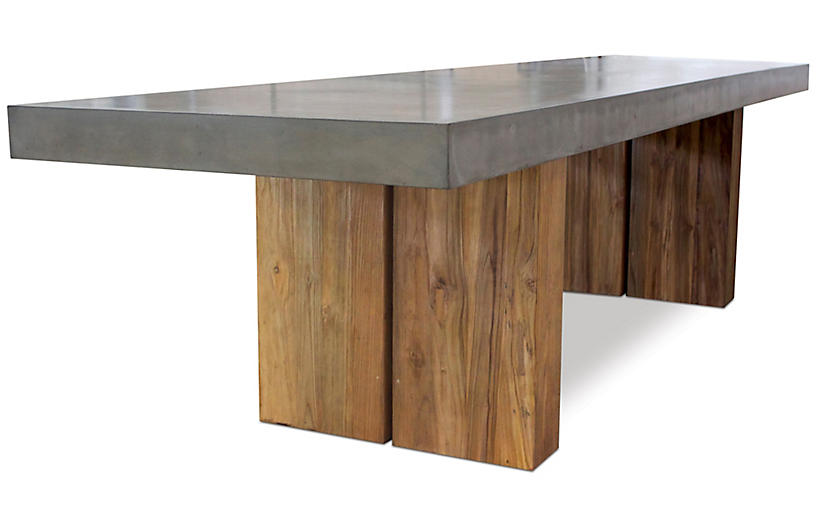 Athos Dining Table, Gray/Natural