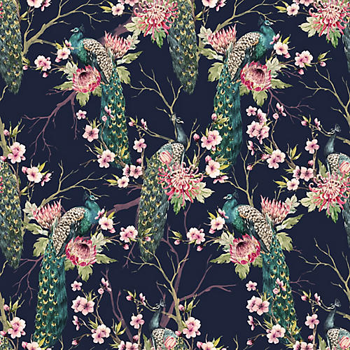 Treetop Peacocks Wallpaper, Navy