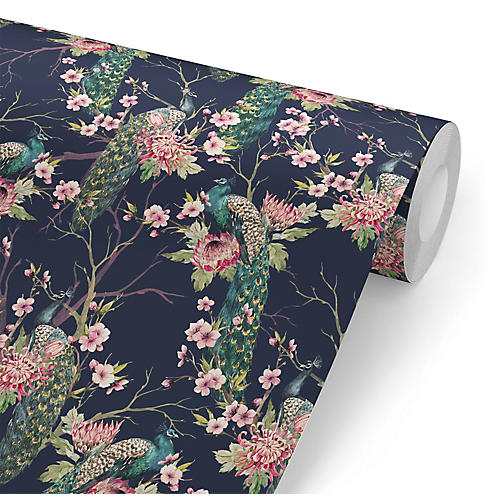 Removable Treetop Peacocks Wallpaper, Navy