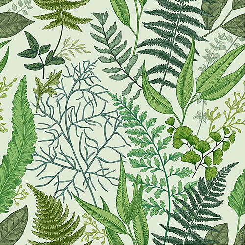 Removable Botanical Glow Wallpaper, Green