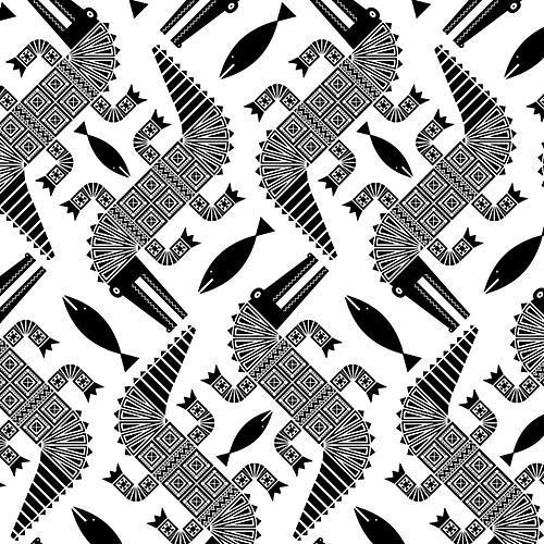Aztec Alligators Wallpaper, White