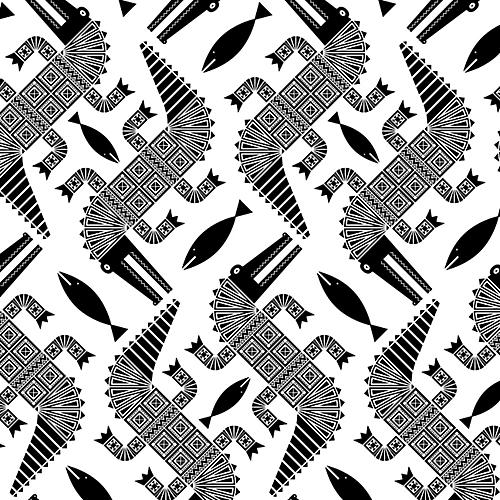 Removable Aztec Alligators Wallpaper, White