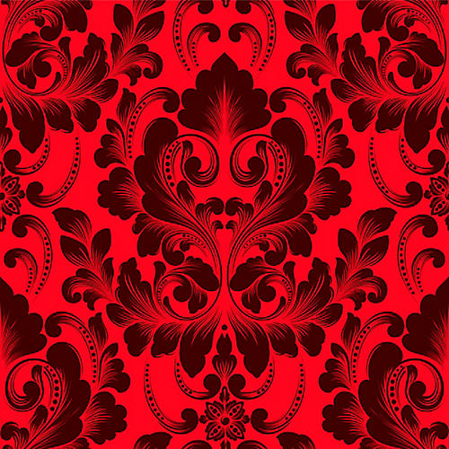 Removable Victorian Crimson Wallpaper, Red