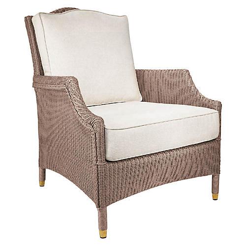 Francis Lounge Chair, Tan Nacre/White