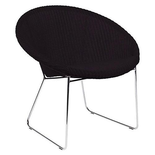 Lazy Joe Lounge Chair, Black/Silver