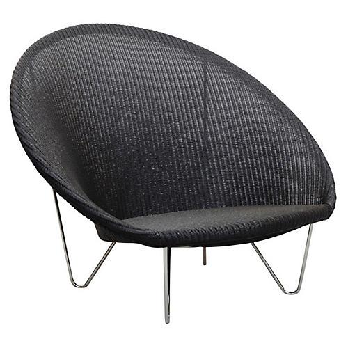 Joe Large Cocoon Chair, Black/Silver