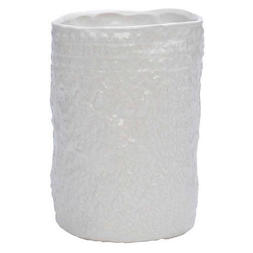 Artifact Round Vase, White