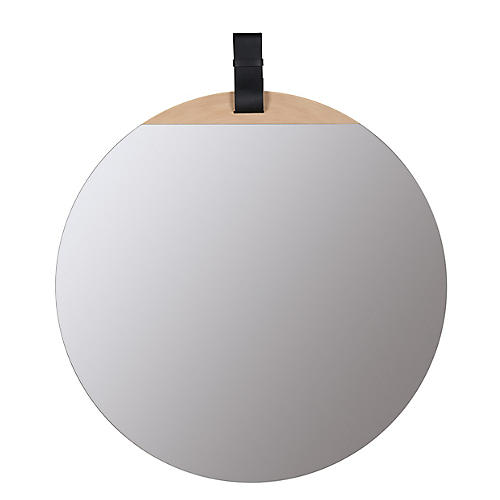 Cece Round Wall Mirror, Blonde/Black