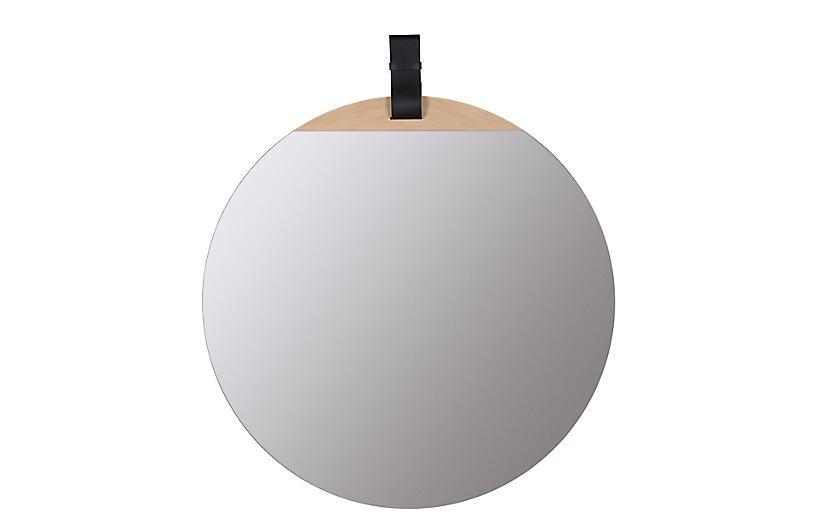 Cece Round Wall Mirror, Blonde/Black