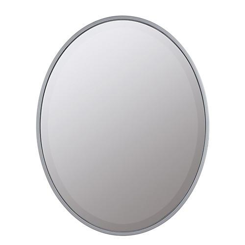 Lela Oval Mirror, Silver