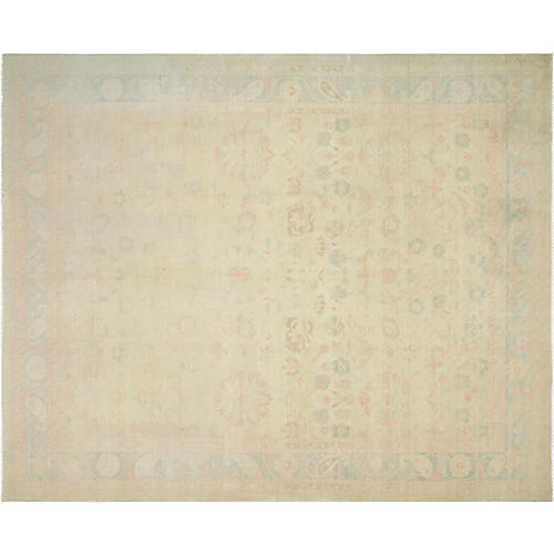 "12'x14'9"" Egyptian Sultanabad Rug, Beige/Blue"