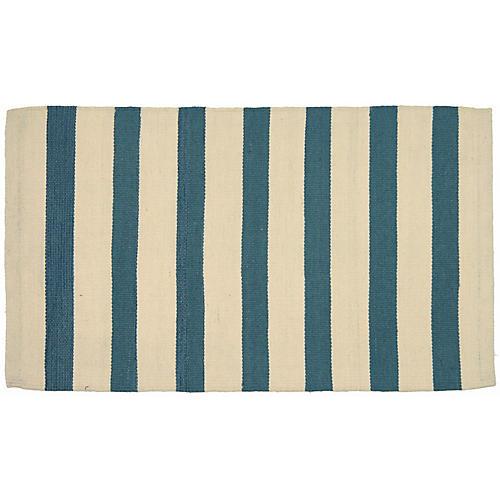 """2'x3'5"""" Egyptian Kilim Rug, Ivory/Blue"""