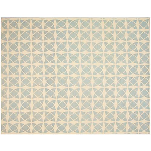 """10'x12'11"""" Egyptian Kilim Rug, Blue/Ivory"""