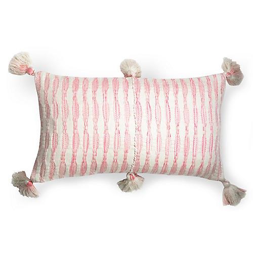 Antigua 12x20 Lumbar Pillow, White/Pink