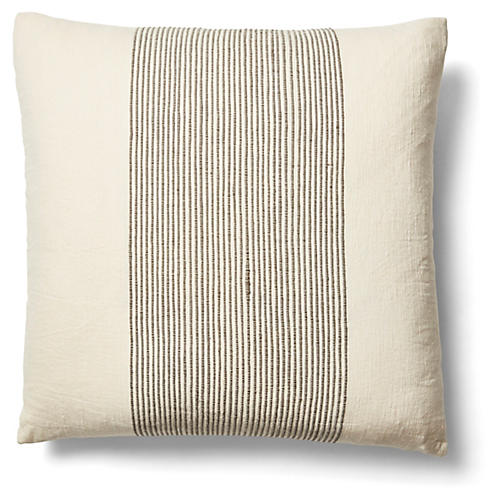 Kendi 26x26 Pinstripe Pillow, Gray/Natural