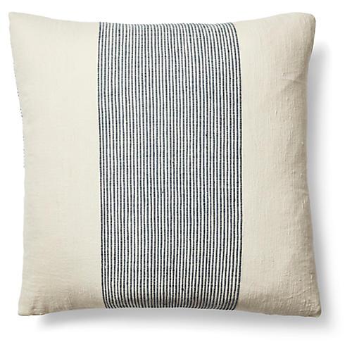 Kendi 26x26 Pinstripe Pillow, Navy/Natural
