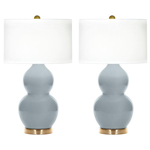 S/2 Ainsley Table Lamps, Hydrangea