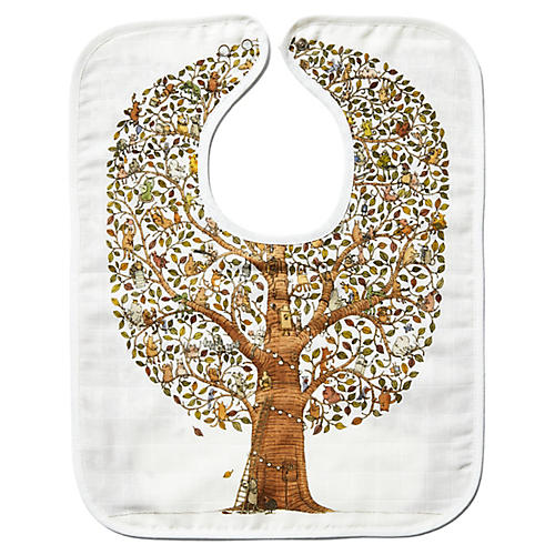 Tree Cotton Bib, White/Multi