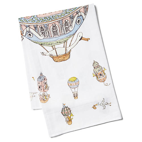 Balloons Cotton Swaddle, White/Multi