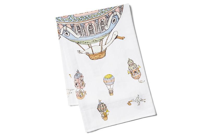 Balloons Cotton Swaddle, White/Multi