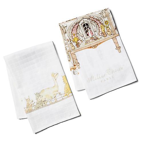 Architecture Burp Cloth Gift Set, White/Multi