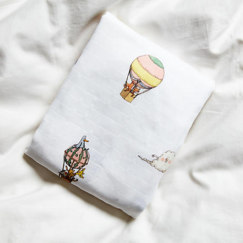 Balloons Crib Sheet, White/Multi