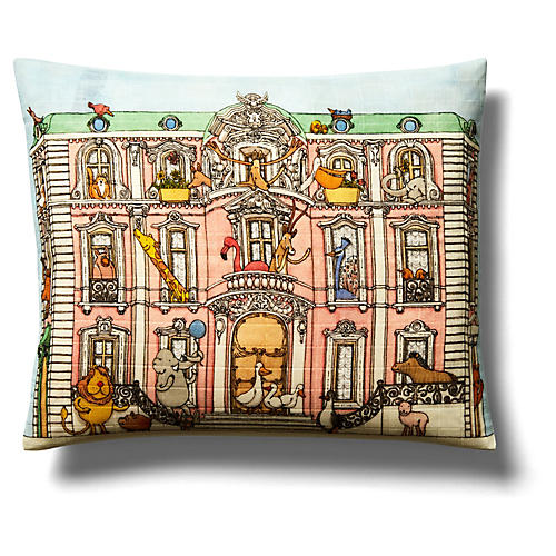Mansion Pillow, Light Blue/Multi