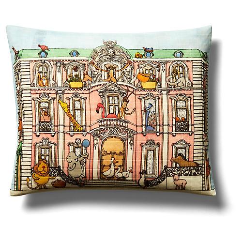Mansion Pillow, Light Blue/Multi