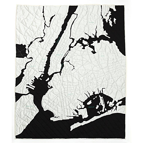New York Harbor Quilt, Black/White