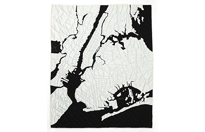 New York Harbor Quilt, Black/White