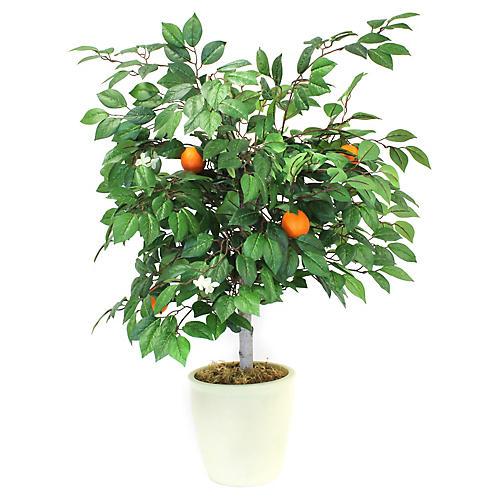 "38"" Mini Orange Tree w/ Planter, Faux"