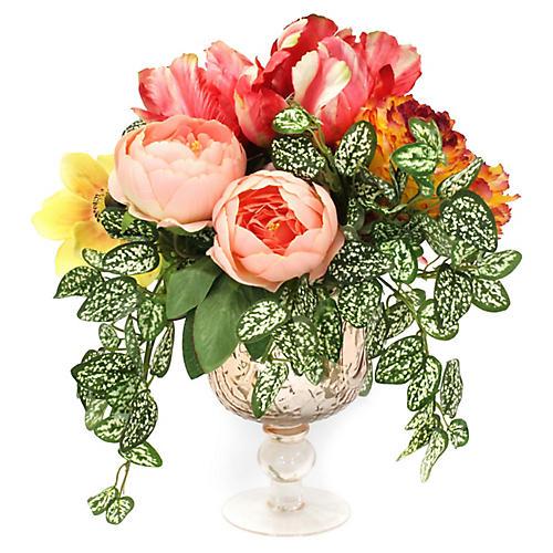 """14"""" Garden Floral Mix w/ Pedestal Vase, Faux"""