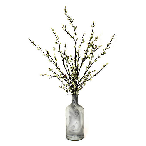 "40"" Pussy Willow Arrangement w/ Bottle Vase, Faux"