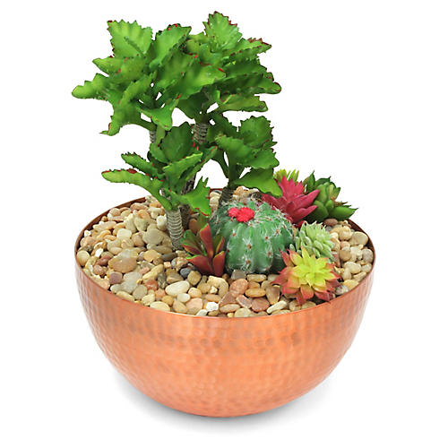 """13"""" Cactus Mix w/ Bowl Vessel, Faux"""